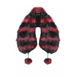 FUR STOLE-BLACK-RED