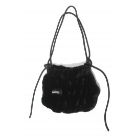 FLUFFY FUR SMALL BAG-BLACK