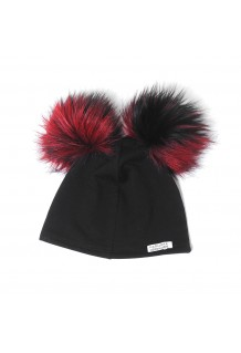 DOUBLE POMPOM-BLACK&RED