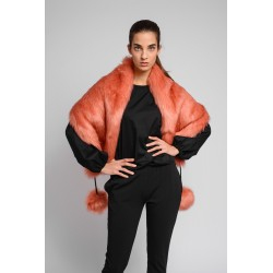 FUR STOLE- FLAMINGO